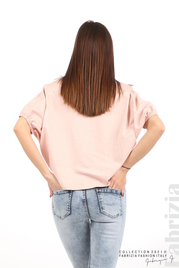 Блуза ластик предна част розов 6 fabrizia
