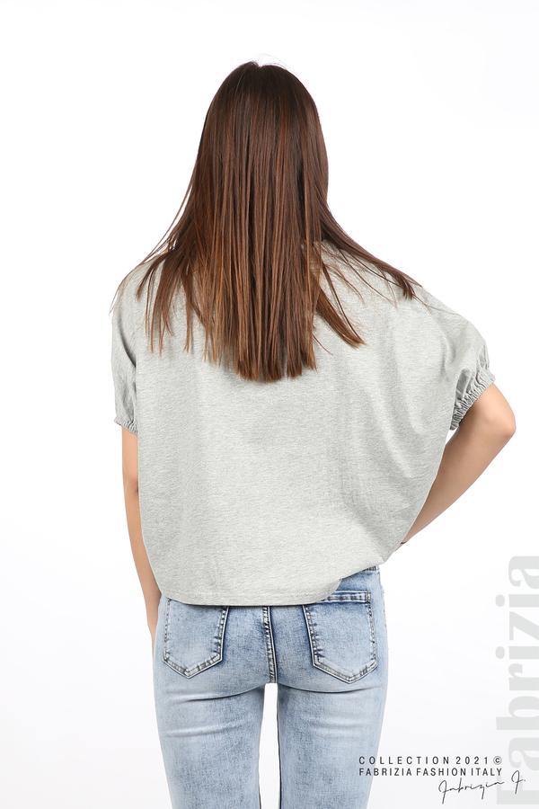Блуза ластик предна част сив 6 fabrizia