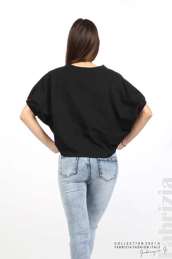 Блуза ластик предна част черен 6 fabrizia
