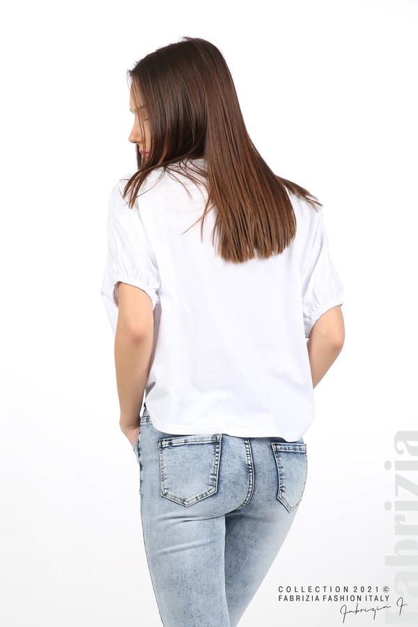 Блуза ластик предна част бял 6 fabrizia