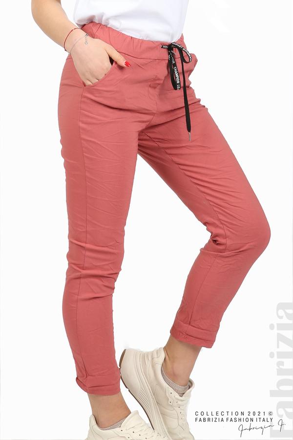 Едноцветен панталон с намачкан ефект корал 4 fabrizia
