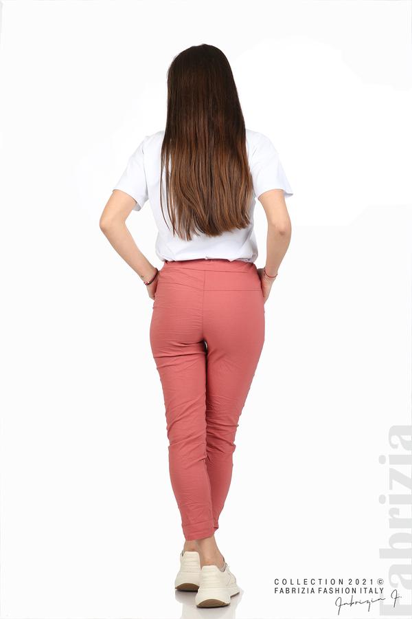 Едноцветен панталон с намачкан ефект корал 5 fabrizia