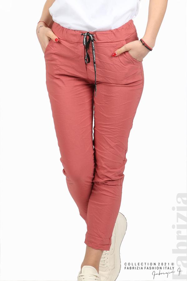 Едноцветен панталон с намачкан ефект корал 2 fabrizia