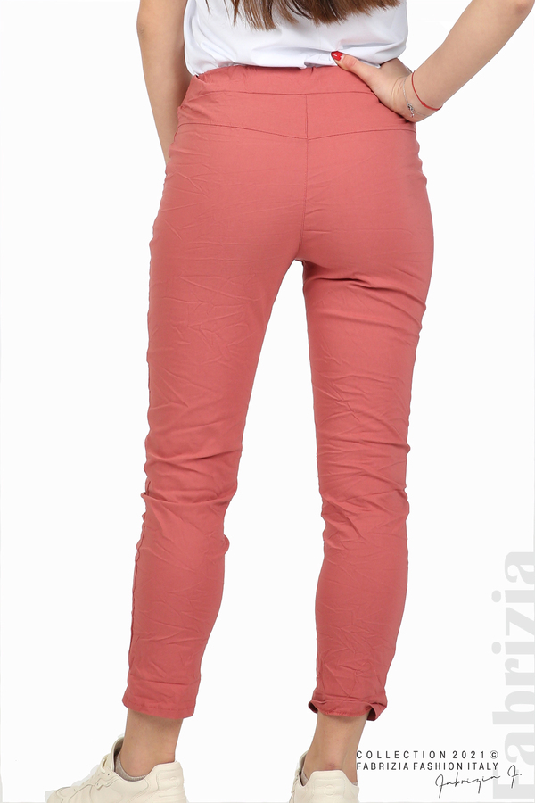 Едноцветен панталон с намачкан ефект корал 6 fabrizia