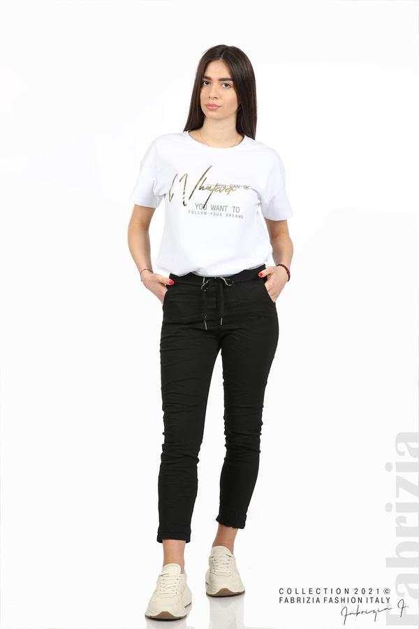 Едноцветен панталон с намачкан ефект черен 1 fabrizia