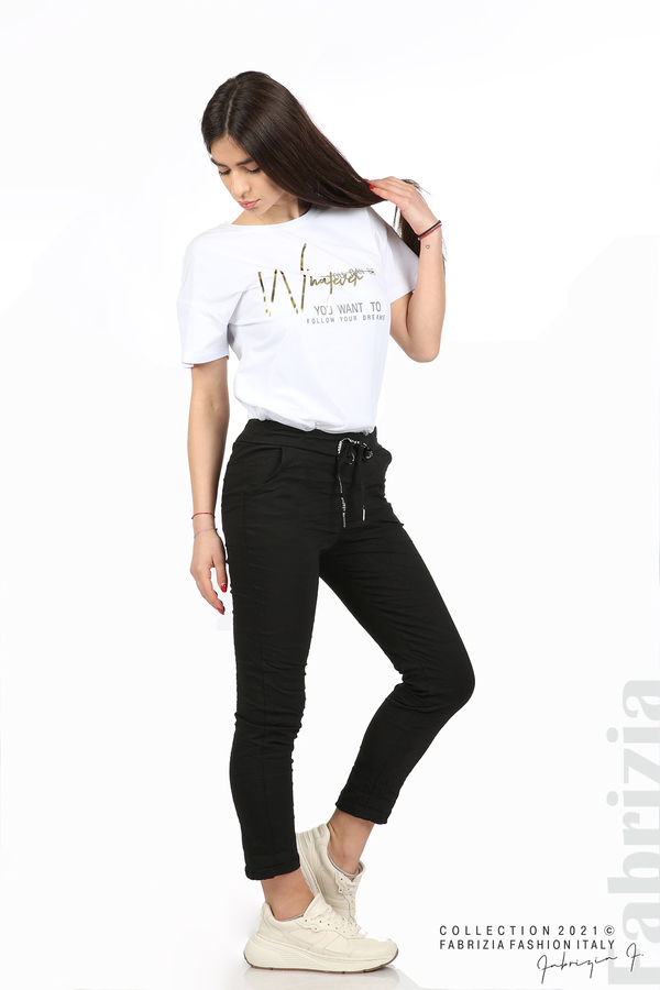 Едноцветен панталон с намачкан ефект черен 4 fabrizia