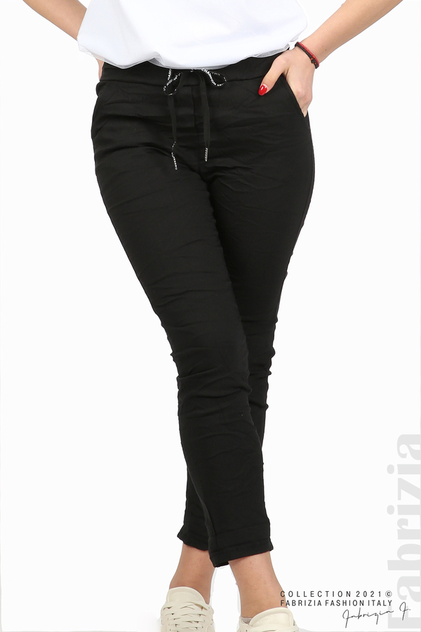 Едноцветен панталон с намачкан ефект черен 2 fabrizia