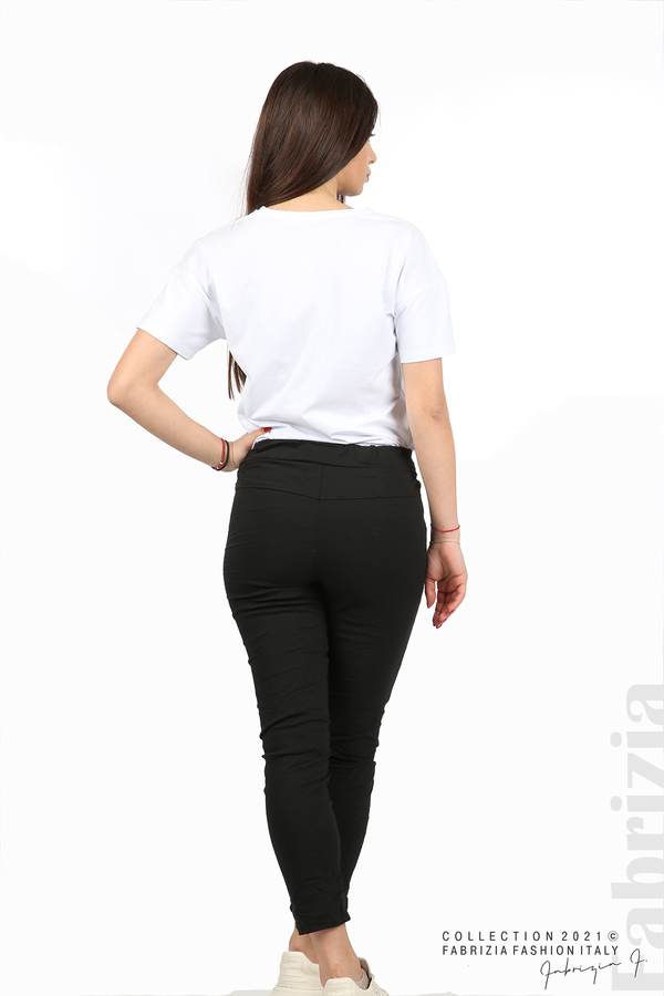 Едноцветен панталон с намачкан ефект черен 6 fabrizia