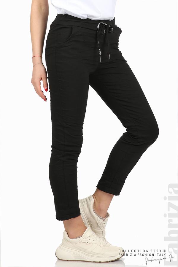Едноцветен панталон с намачкан ефект черен 5 fabrizia