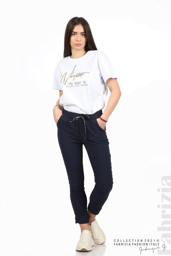 Едноцветен панталон с намачкан ефект т.син 1 fabrizia