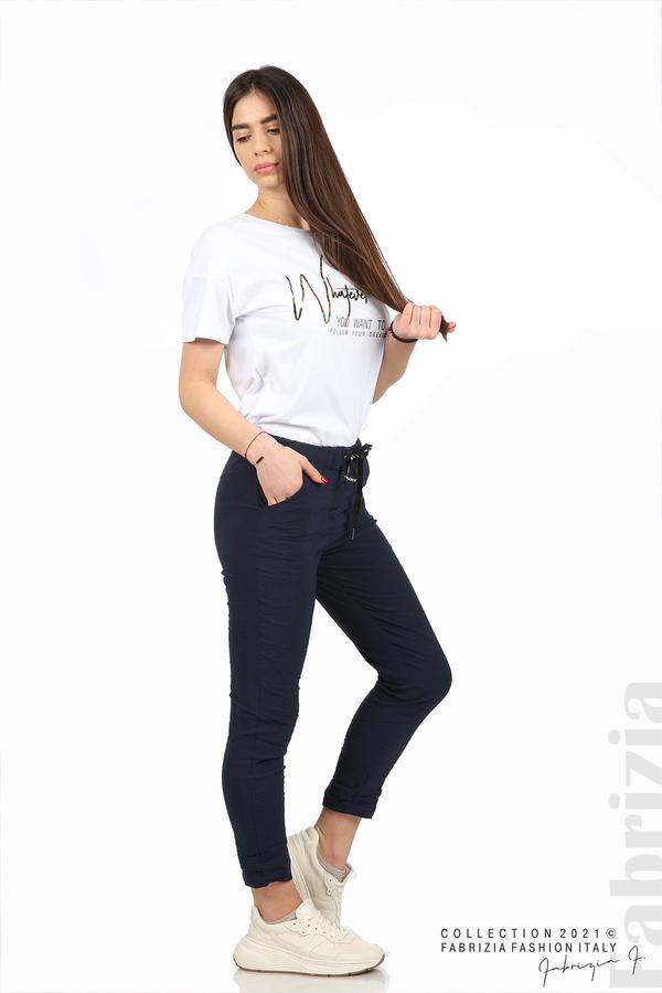Едноцветен панталон с намачкан ефект т.син 3 fabrizia