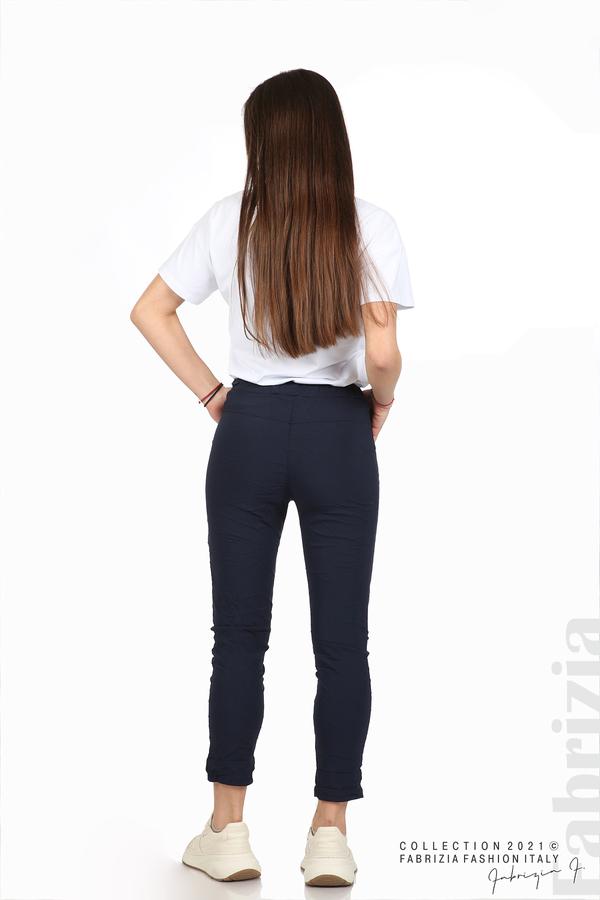 Едноцветен панталон с намачкан ефект т.син 5 fabrizia