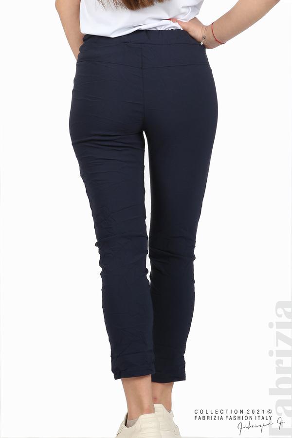 Едноцветен панталон с намачкан ефект т.син 6 fabrizia