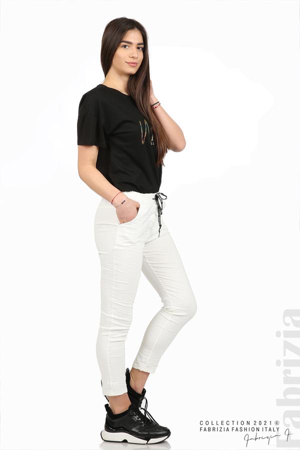 Едноцветен панталон с намачкан ефект бял 5 fabrizia