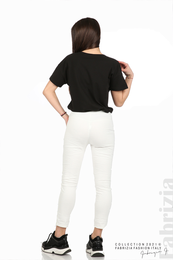 Едноцветен панталон с намачкан ефект бял 6 fabrizia
