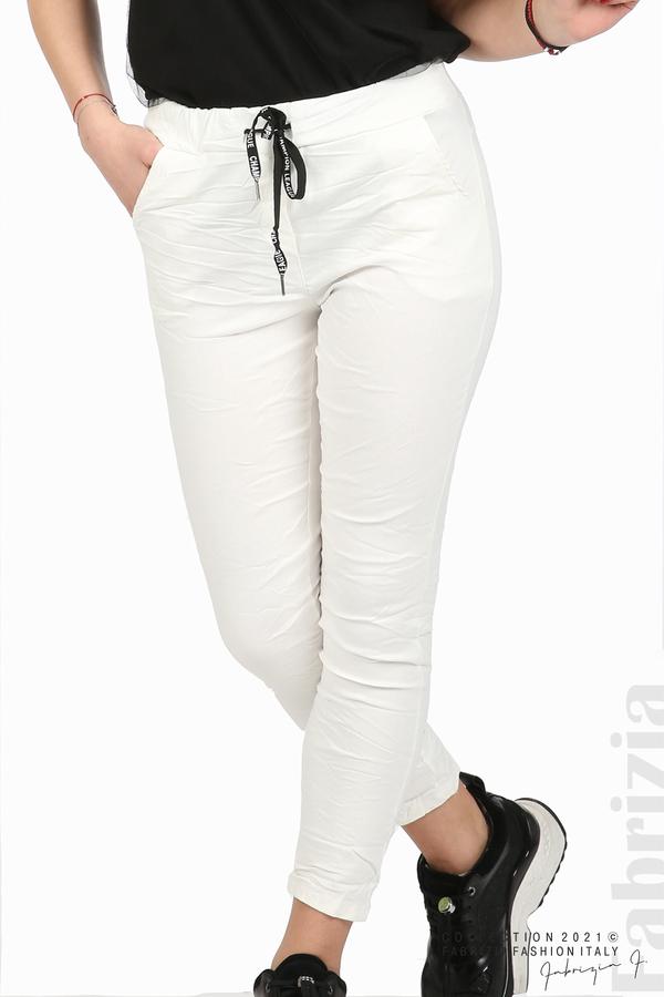 Едноцветен панталон с намачкан ефект бял 2 fabrizia