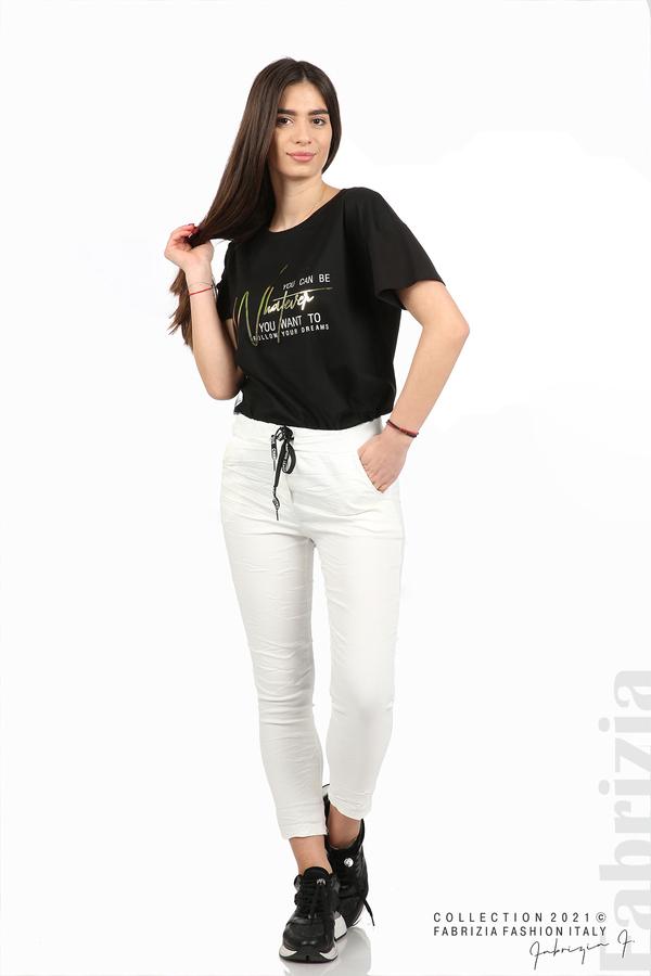 Едноцветен панталон с намачкан ефект бял 1 fabrizia