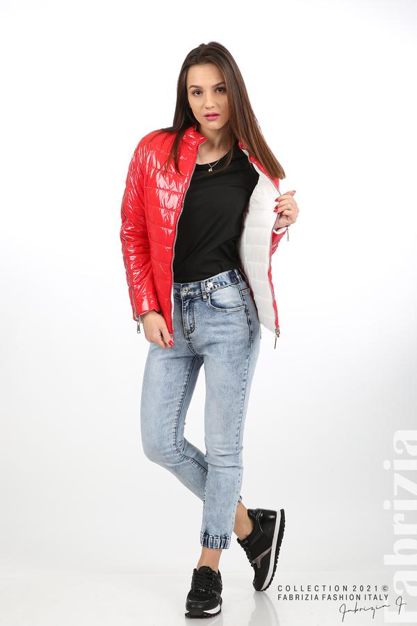 Лъскаво двулицево яке червен/бял 4 fabrizia