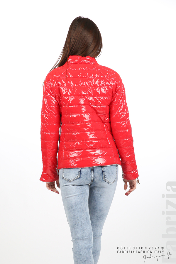 Лъскаво двулицево яке червен/бял 7 fabrizia