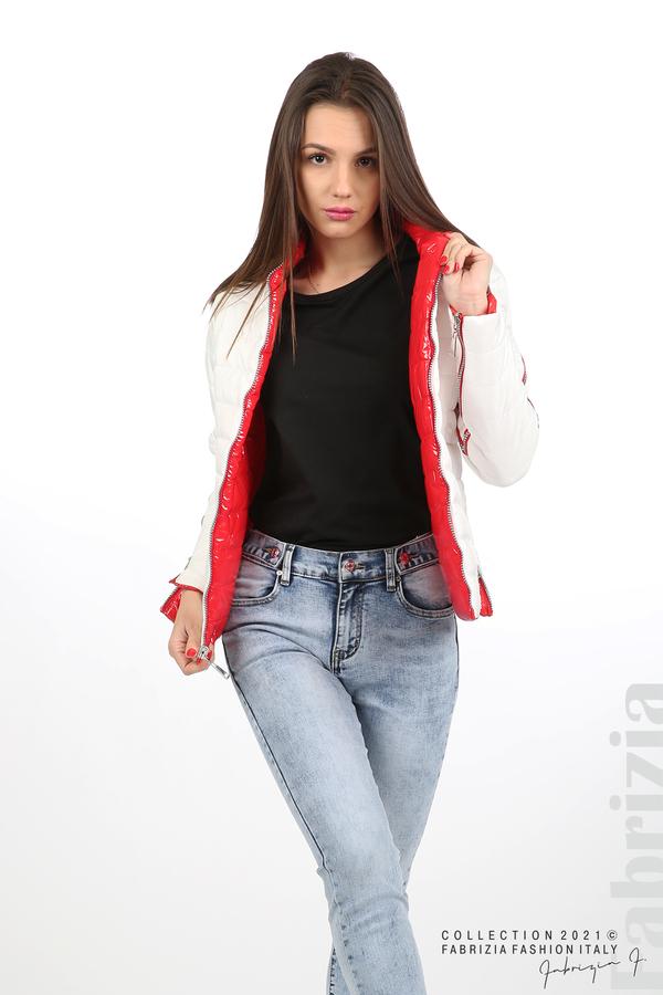 Лъскаво двулицево яке червен/бял 11 fabrizia