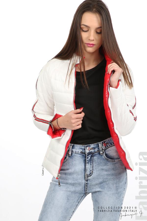 Лъскаво двулицево яке червен/бял 1 fabrizia