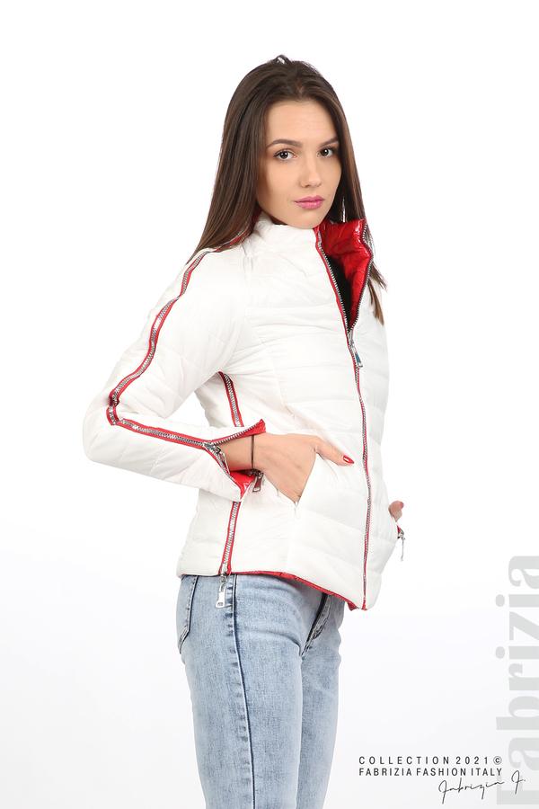Лъскаво двулицево яке червен/бял 8 fabrizia
