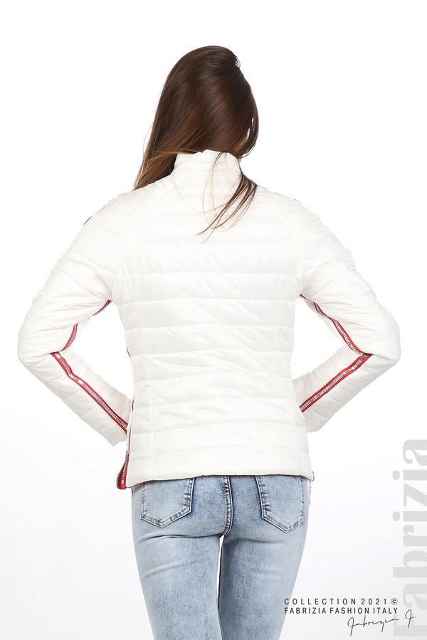 Лъскаво двулицево яке червен/бял 12 fabrizia