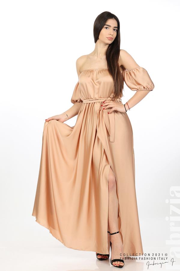 Сатенирана едноцветна рокля карамел 1 fabrizia