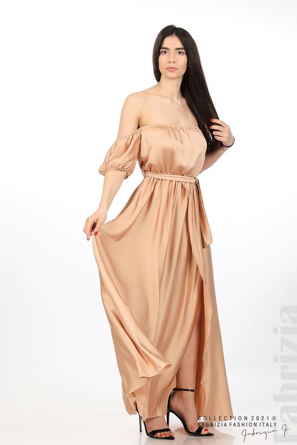 Сатенирана едноцветна рокля карамел 5 fabrizia