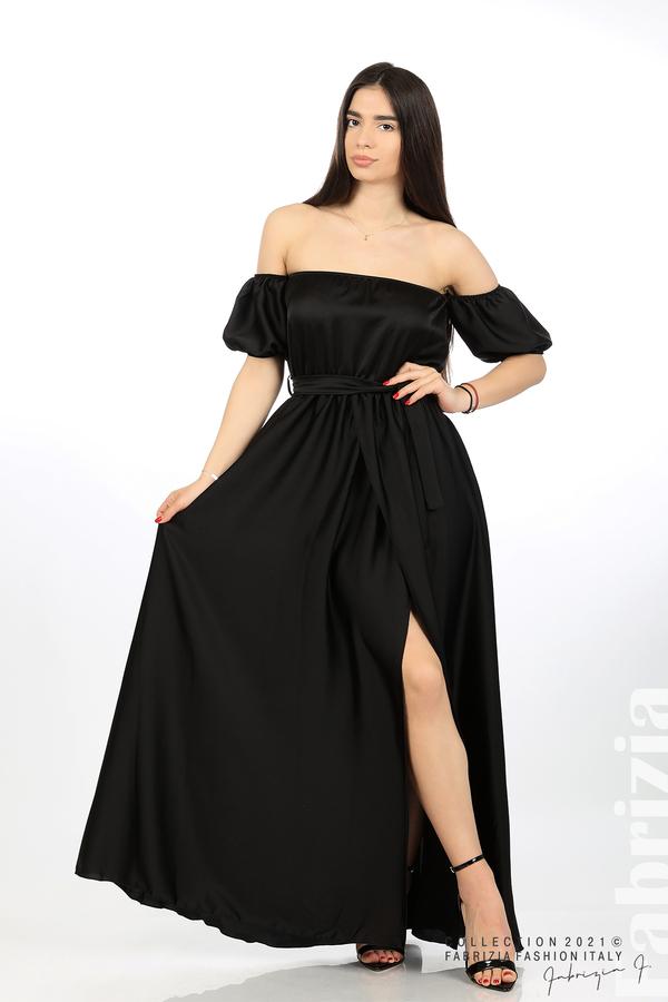 Сатенирана едноцветна рокля черен 1 fabrizia
