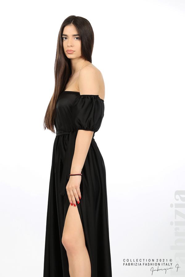 Сатенирана едноцветна рокля черен 3 fabrizia