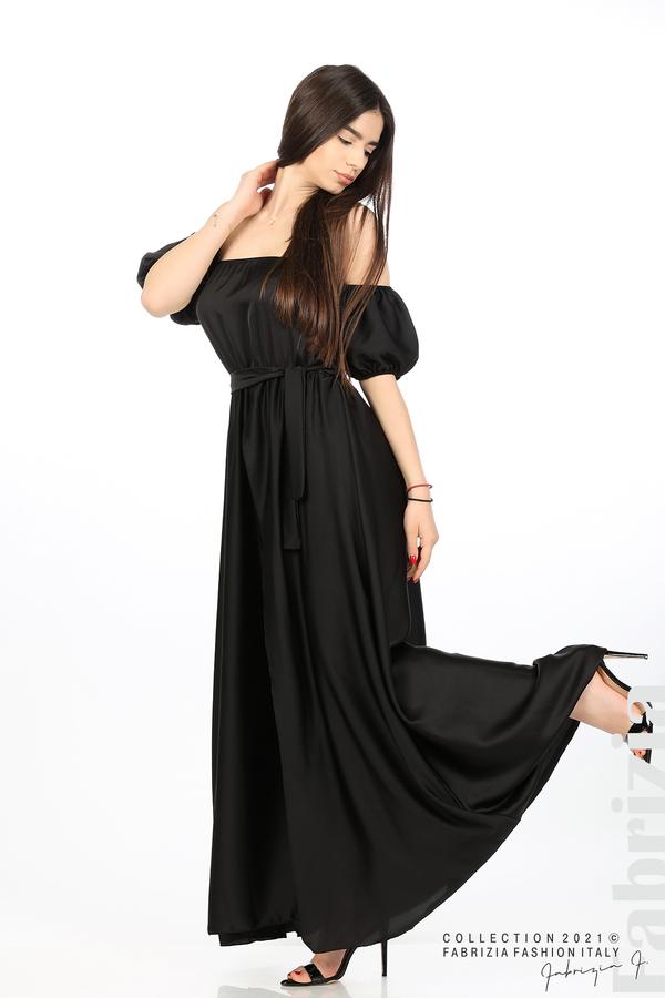 Сатенирана едноцветна рокля черен 4 fabrizia