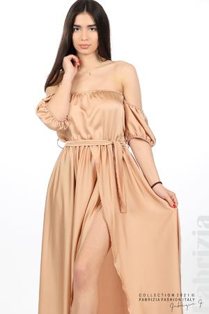 Сатенирана едноцветна рокля