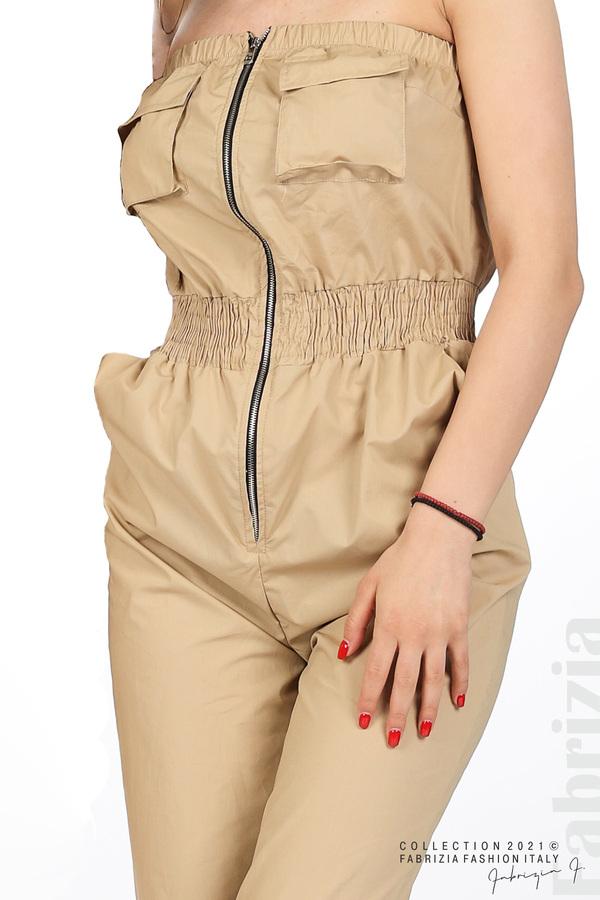 Дамски гащеризон с джобчета бежов 1 fabrizia