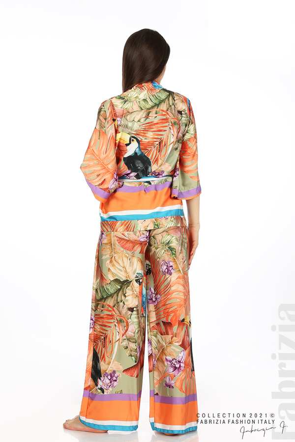 Сатениран комплект туника и панталон оранж 6 fabrizia