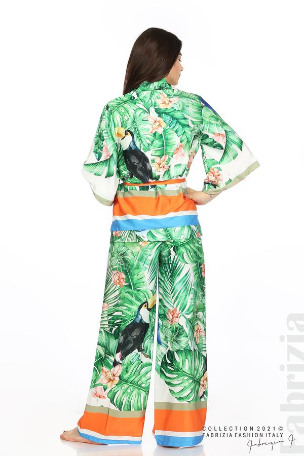 Сатениран комплект туника и панталон зелен 6 fabrizia