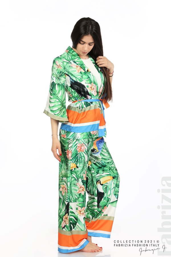 Сатениран комплект туника и панталон зелен 1 fabrizia