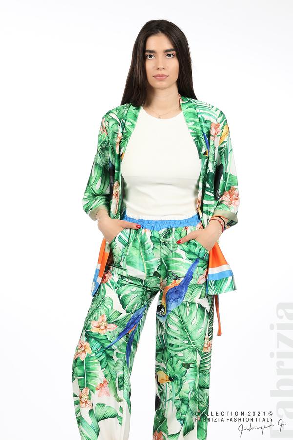 Сатениран комплект туника и панталон зелен 4 fabrizia