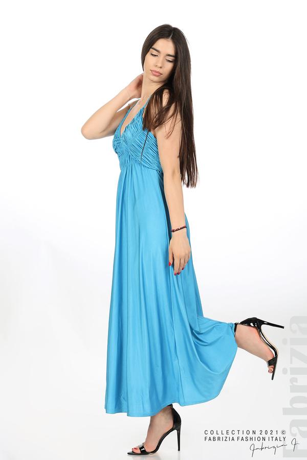 Дълга рокля с ефектна горна част св.син 4 fabrizia