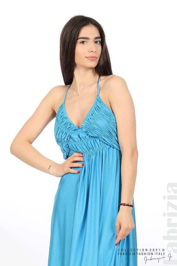 Дълга рокля с ефектна горна част св.син 2 fabrizia