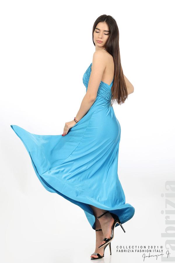 Дълга рокля с ефектна горна част св.син 1 fabrizia