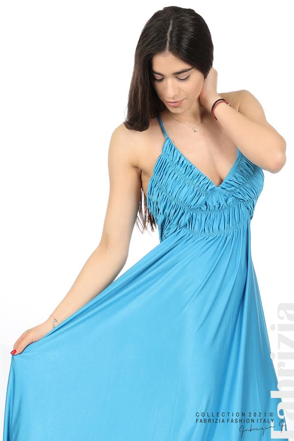 Дълга рокля с ефектна горна част св.син 3 fabrizia