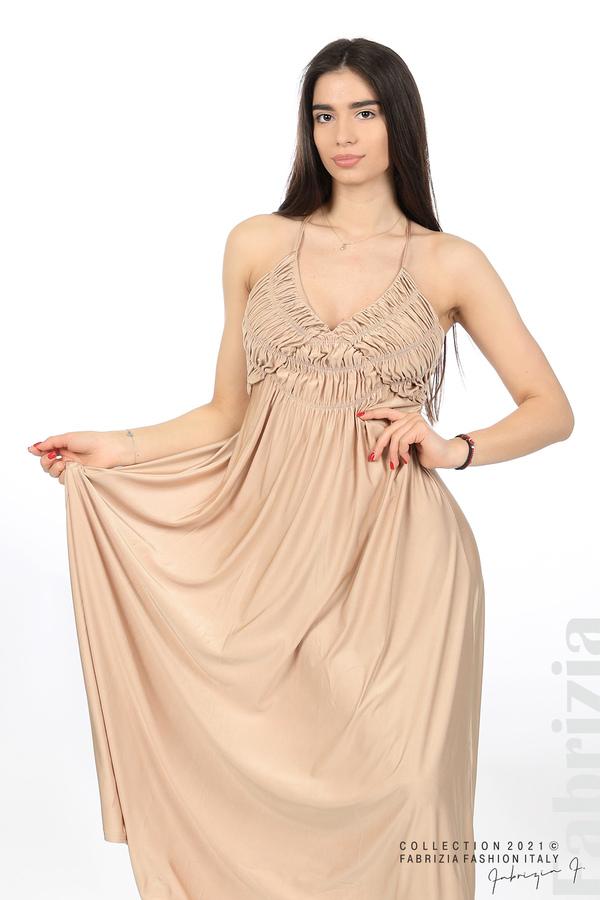 Дълга рокля с ефектна горна част бежов 4 fabrizia