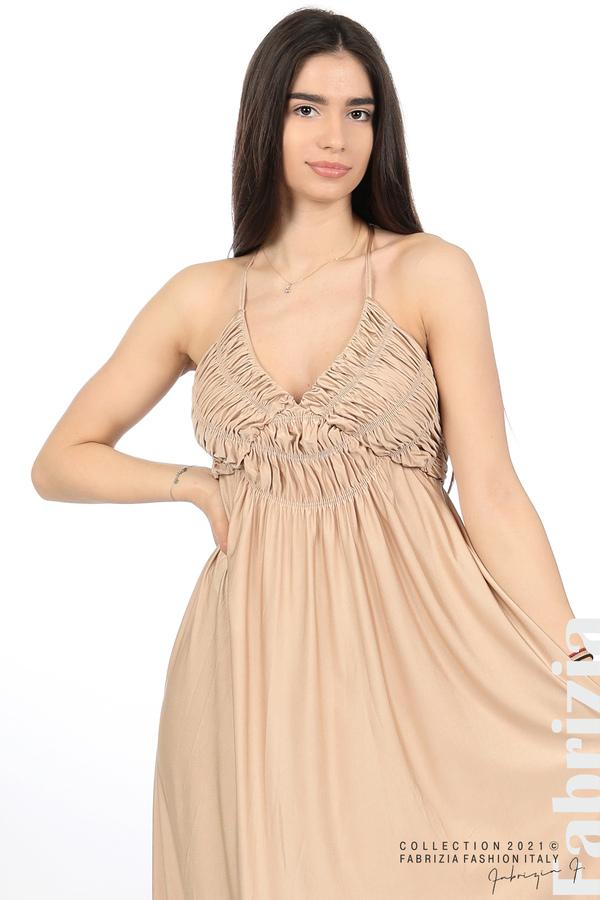 Дълга рокля с ефектна горна част бежов 2 fabrizia