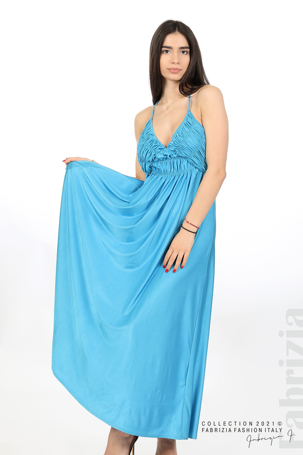Дълга рокля с ефектна горна част св.син 5 fabrizia