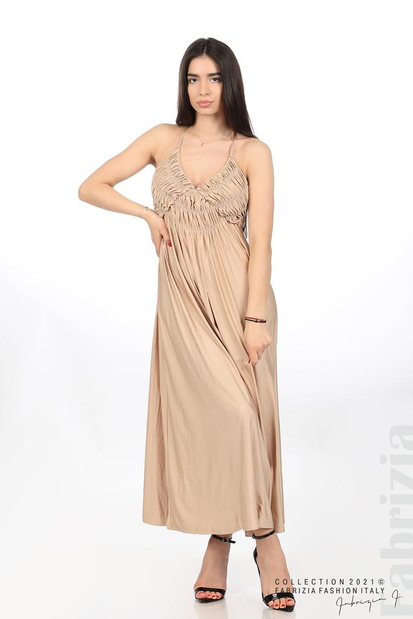 Дълга рокля с ефектна горна част бежов 5 fabrizia