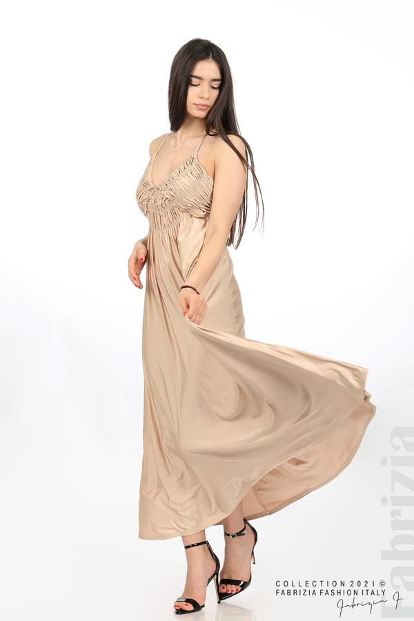 Дълга рокля с ефектна горна част бежов 1 fabrizia