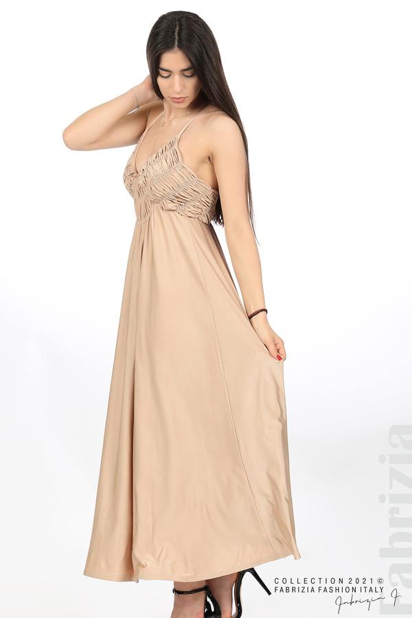 Дълга рокля с ефектна горна част бежов 3 fabrizia