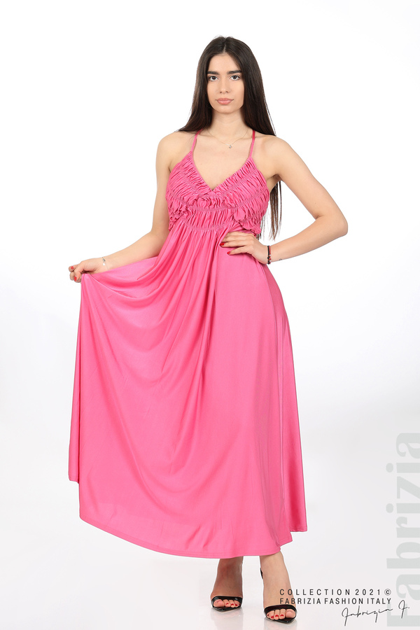 Дълга рокля с ефектна горна част циклама 1 fabrizia