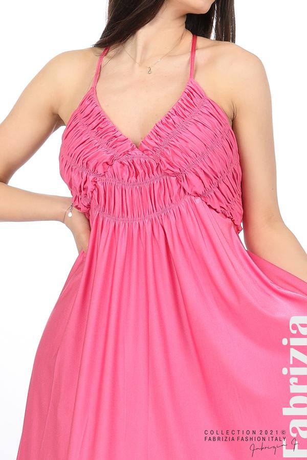 Дълга рокля с ефектна горна част циклама 2 fabrizia